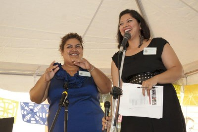 Vicky with Lorena (CAUSA), MC-ing at the CAPACES Leadership Institute's Grand Opening